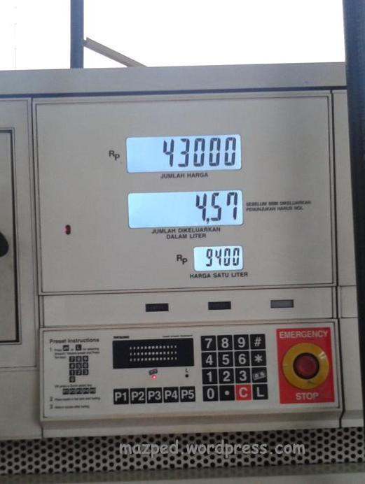 Mari kita itung sama2 konsumsi jarak tempuh per liternya berapa…